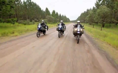 3 motorcyclists in a documentary called The Southern Crossing