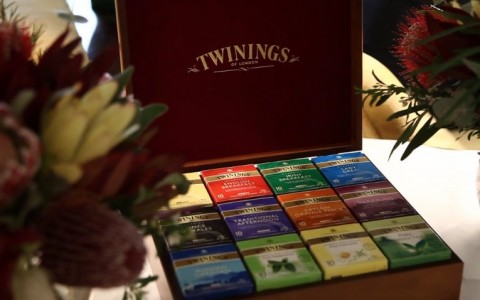 twinings tea box with all blends of teas