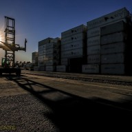 Forklift-at-a-container-yard
