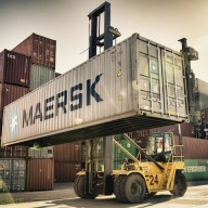 Forklift-lifting-a-MAERSK-container