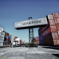 MAERSK-Container-lifted-by-a-forklift