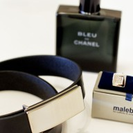 Malebox-Cufflinks-with-belt-and-Bleu-de-Chanel-perfume